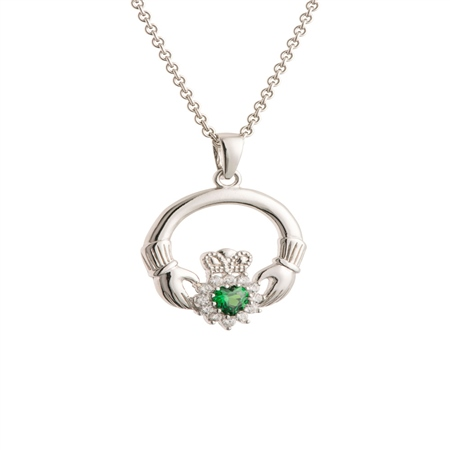 Galway Crystal Jewellery Green Crystal Sparkle Claddagh Sterling Silver Pendant Galway Crystal Jewellery - Claddagh Collection - Click to view a larger image