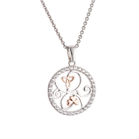 Galway Crystal Jewellery Trinity Knots & Shamrocks Rose Gold & Sterling Silver Pendant Galway Crystal Jewellery - Trinity Knot Collection - Click to view a larger image