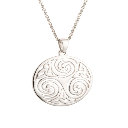 Galway Crystal Jewellery Celtic Swirl Sterling Silver Pendant Galway Crystal Jewellery - Celtic Swirl Collection - Click to view a larger image