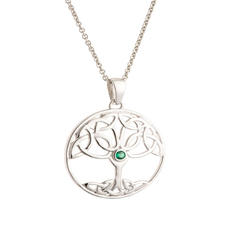 Galway Crystal Jewellery Tree of Life Green Crystal Sterling Silver Pendant Galway Crystal Jewellery - Tree of Life Collection - Click to view a larger image