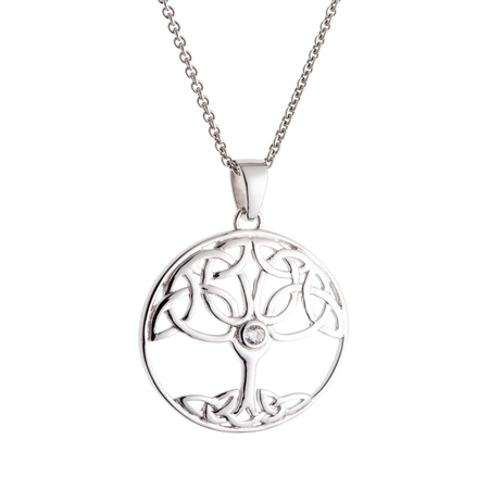 Galway Crystal Jewellery Tree of Life Crystal Sterling Silver Pendant Galway Crystal Jewellery - Tree of Life Collection - Click to view a larger image