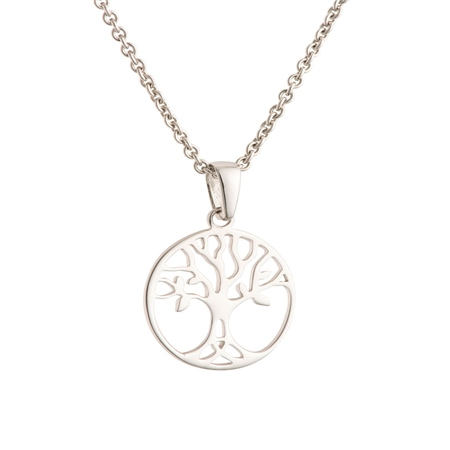 Galway Crystal Jewellery Tree of Life Crystal Sterling Silver Pendant - Small Galway Crystal Jewellery - Tree of Life Collection - Click to view a larger image