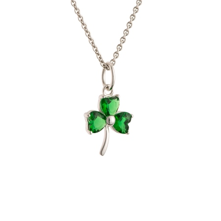 Galway Crystal Jewellery Shamrock Green Crystal Sterling Silver Pendant Galway Crystal Jewellery - ShamrockCollection - Click to view a larger image