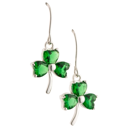 Galway Crystal Jewellery Shamrock Green Crystal Pendant Earrings Galway Crystal Jewellery - ShamrockCollection - Click to view a larger image