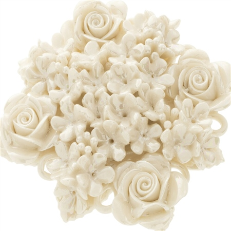 Belleek Classic Jewellery Rose Bouquet Brooch (Mother of Pearl) Belleek Classic Heirloom Collection - Rose Bouquet Brooch MOP - Click to view a larger image