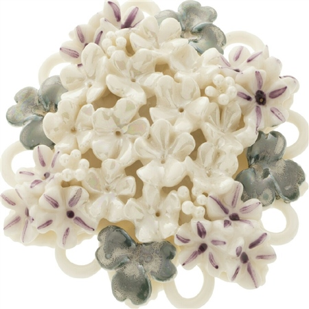 Belleek Classic Jewellery Forget Me Not Posy Brooch (Mother of Pearl, Lilac and Teal) Belleek Classic Jewellery - Heirloom Collection - Click to view a larger image