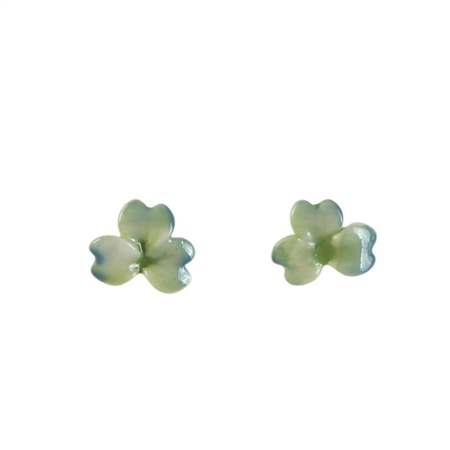 Belleek Classic Jewellery Shamrock Earrings (Green & Blue Wash) Belleek Living Classic Heirloom Collection - Click to view a larger image