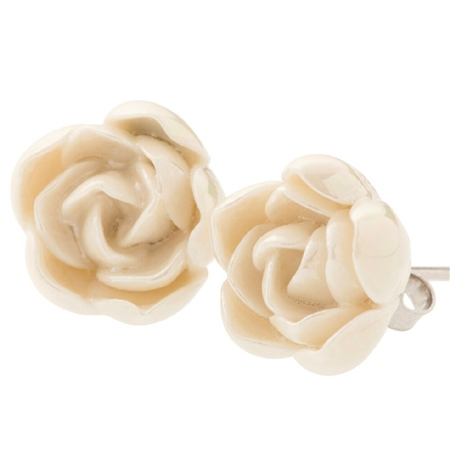 Belleek Classic Jewellery Peony Earrings (Mother of Pearl) Belleek Classic Jewellery - Heirloom Collection - Click to view a larger image