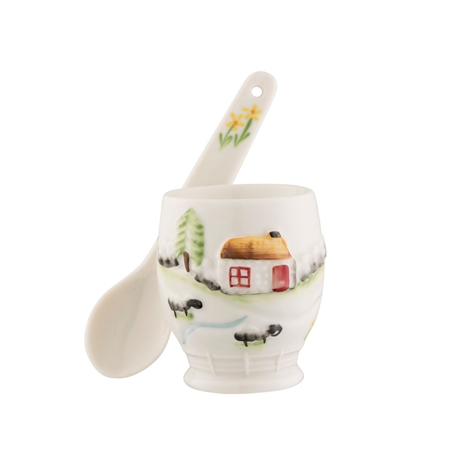 Belleek Classic Connemara Egg Cup & Spoon Belleek - Connemara Collection - Egg Cup and Spoon - Click to view a larger image
