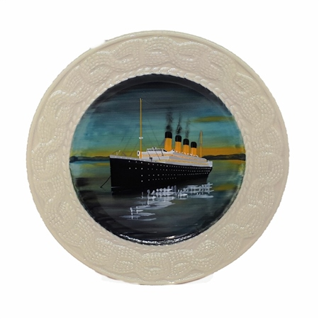 "Belleek Classic Galway Weave 10"" Titanic Plate  - Click to view a larger image"