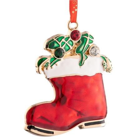 Belleek Living Santa's Boot Enamel Ornament Belleek Living Christmas - Santas Boot Enamel Ornament - Click to view a larger image