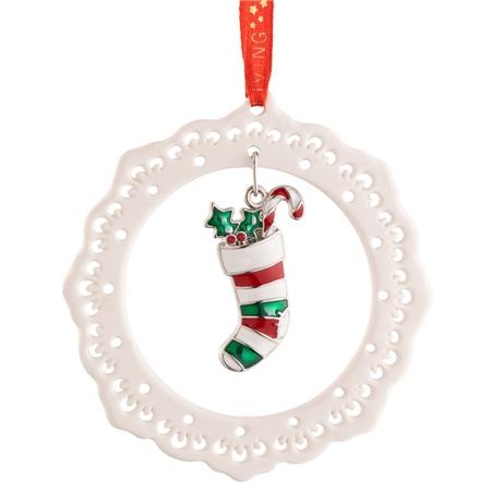 Belleek Living Pierced Ornament with Enamel Stocking Belleek Living Christmas - Pierced Ornament with Enamel Stocking - Click to view a larger image