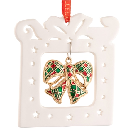 Belleek Living Pierced Enamel Bow Ornament Belleek Living Christmas - Pierced Ornament with Enamel Bow - Click to view a larger image