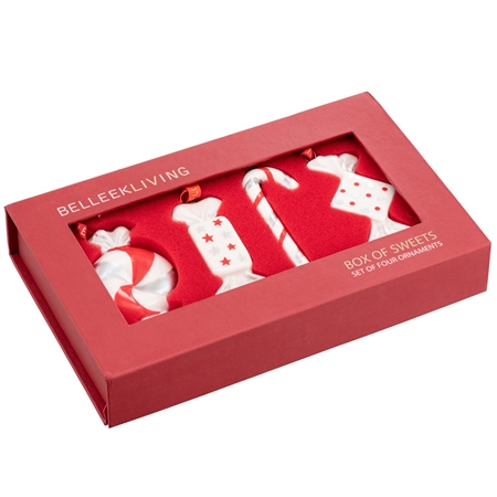Belleek Living Box of Sweets Ceramic Ornaments Belleek Living - Box of Sweets - Set of 4 Hanging Ornaments - Click to view a larger image