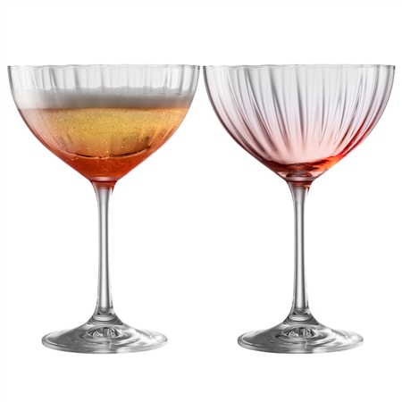 Galway Living Erne Cocktail/Champagne Saucer Set of 2 in Blush Galway Living - Erne Blush - Click to view a larger image