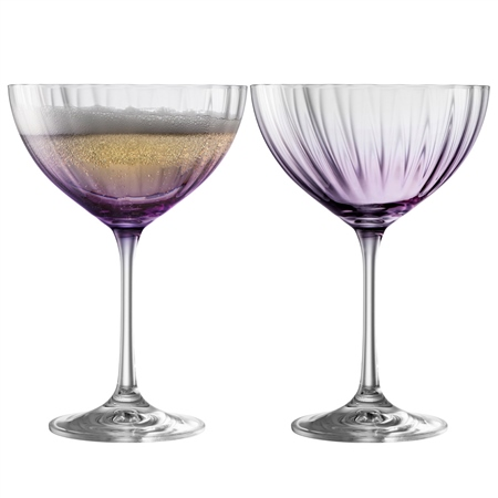 Galway Living Erne Cocktail/Champagne Saucer Set of 2 in Amethyst Galway Living - Erne Amethyst - Click to view a larger image