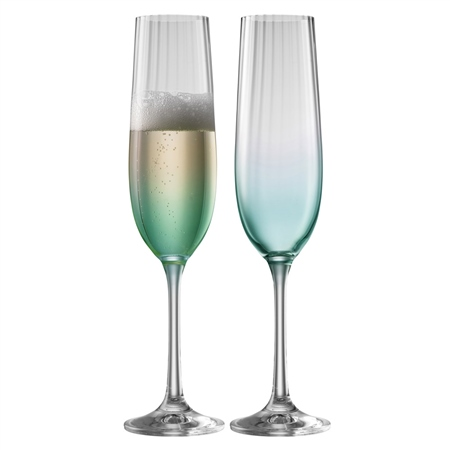 Galway Living Erne Flute Set of 2 in Aqua Galway Living - Erne Aqua - Click to view a larger image