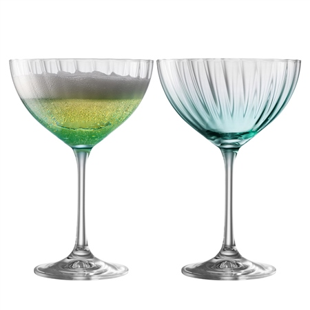 Galway Living Erne Cocktail/Champagne Saucer Set of 2 in Aqua Galway Living - Erne Aqua - Click to view a larger image