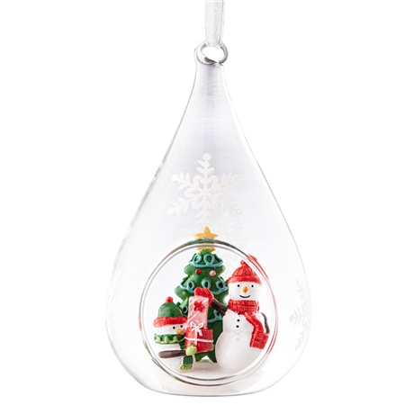 Galway Living  Snowman Teardrop Hanging Bauble Ornament Galway Living - Snowman Teardrop Hanging Bauble - Click to view a larger image