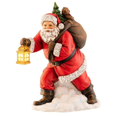 Aynsley Santa with Lantern Figurine LED Aynsley LED Figurines - Santa with Lantern - Click to view a larger image