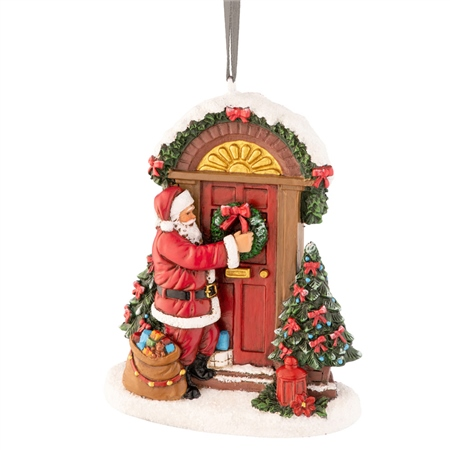 Aynsley Santa Placing Wreath Hanging Ornament Aynsley Hanging Ornaments - Santa Placing Wreath - Click to view a larger image