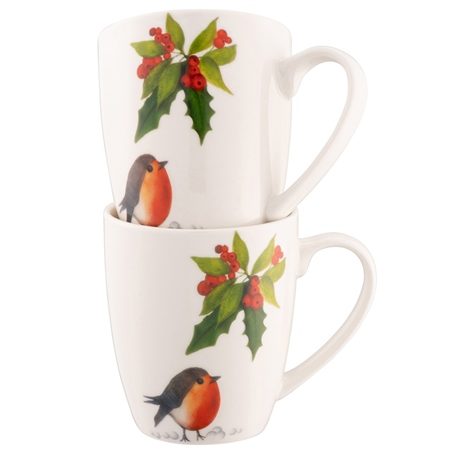 Aynsley Classic Christmas Robin Mug Set of 2 Aynsley Tableware - Classic Christmas Robin Mug Set of 2 - Click to view a larger image