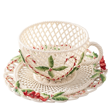 Belleek Classic Christmas Cup & Saucer Basket 1
