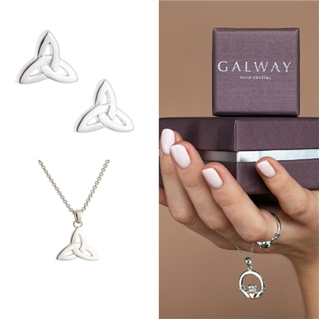Galway Crystal Jewellery Trinity Knot Sterling Silver Set Galway Crystal Jewellery - Trinity Knot Sterling Silver Set - Click to view a larger image