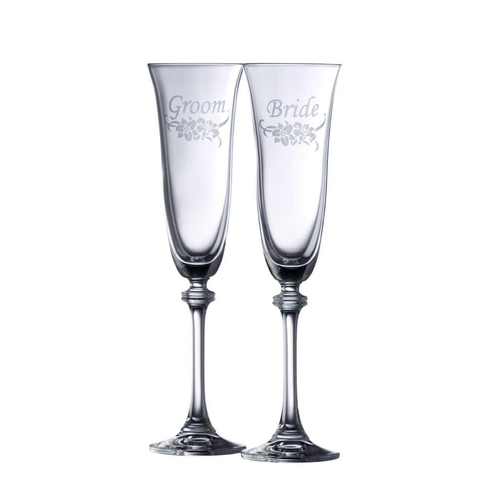 Galway Crystal FLORAL BRIDE & GROOM FLUTE PAIR 1