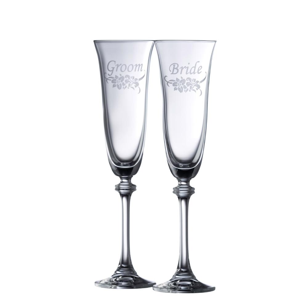 FLORAL BRIDE & GROOM FLUTE PAIR