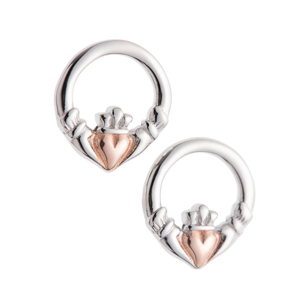 Galway Crystal Jewellery Claddagh Earrings Sterling Silver & Rose Gold 1