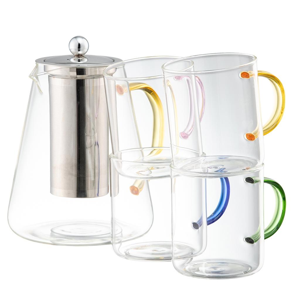 Filter Teapot & 4 Mug Set