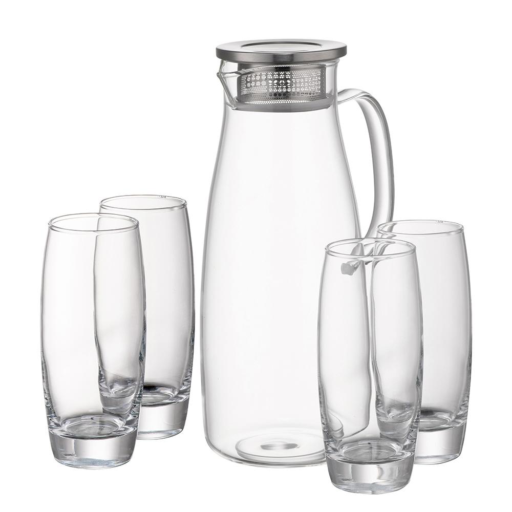 Filter Jug & 4 Glasses Set