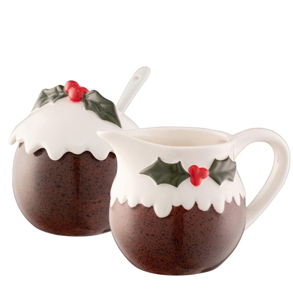 Christmas Pudding Covered Pot with Spoon & Small Jug Set